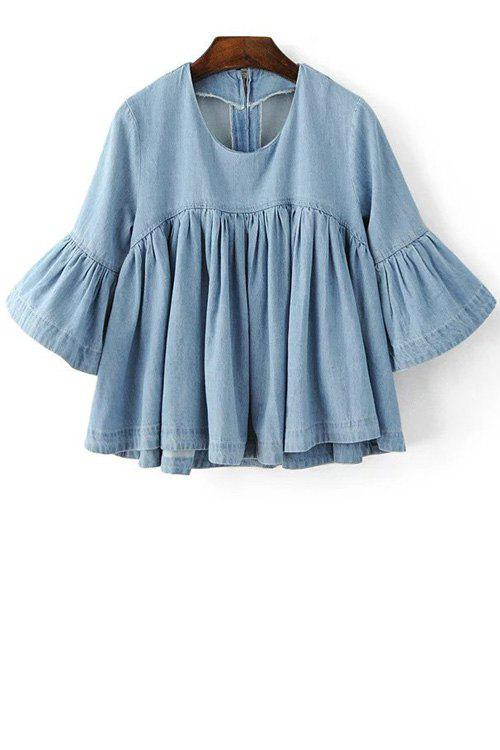 Unique Flare Sleeve Flounce Ruffles Denim Blouse