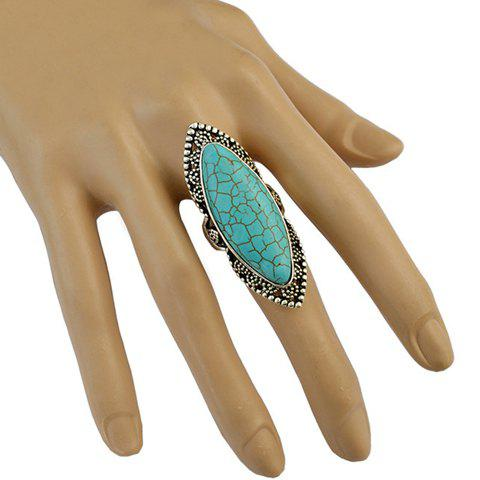 Stylish Faux Turquoise Hollow Out Mid Finger RingJEWELRY<br><br>Color: GREEN; Gender: For Women; Metal Type: Alloy; Style: Trendy; Shape/Pattern: Others; Diameter: 17MM; Weight: 0.037kg; Package Contents: 1 x Ring;