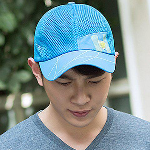 Cheap Trendy Badge Embellished Breathable Mesh Baseball Cap
