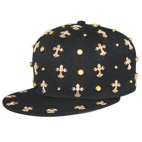 Trendy Stylish Gold Cross Shape and Rhinestone Embellished Black Baseball Cap For Men
