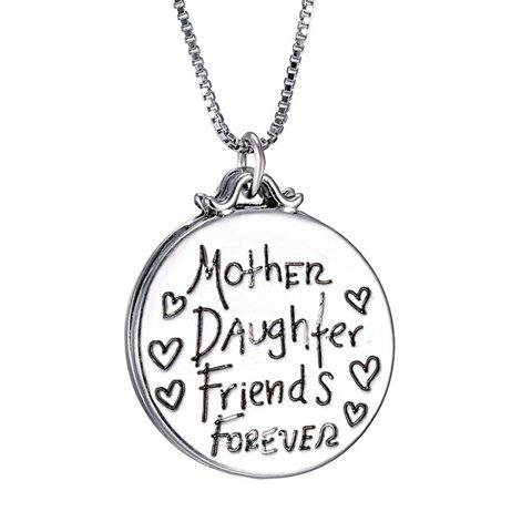Engraved Medallion Pendant NecklaceJEWELRY<br><br>Color: SILVER; Item Type: Pendant Necklace; Gender: For Women; Style: Trendy; Shape/Pattern: Letter; Length: 50CM; Weight: 0.035kg; Package Contents: 1 x Necklace;