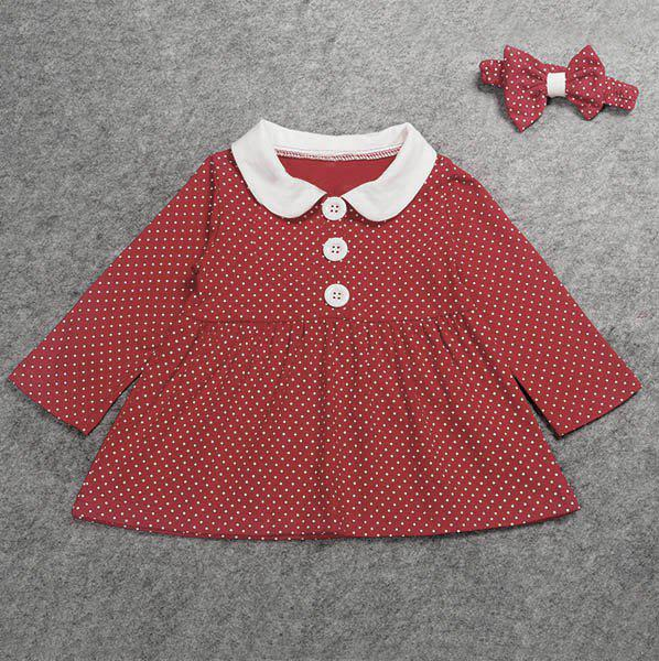 Fancy Cute Peter Pan Collar Long Sleeve Polka Dot Girl's Dress