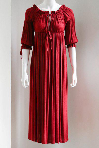 Outfit Maxi 3/4 Sleeve Drawstring Red Long Dress