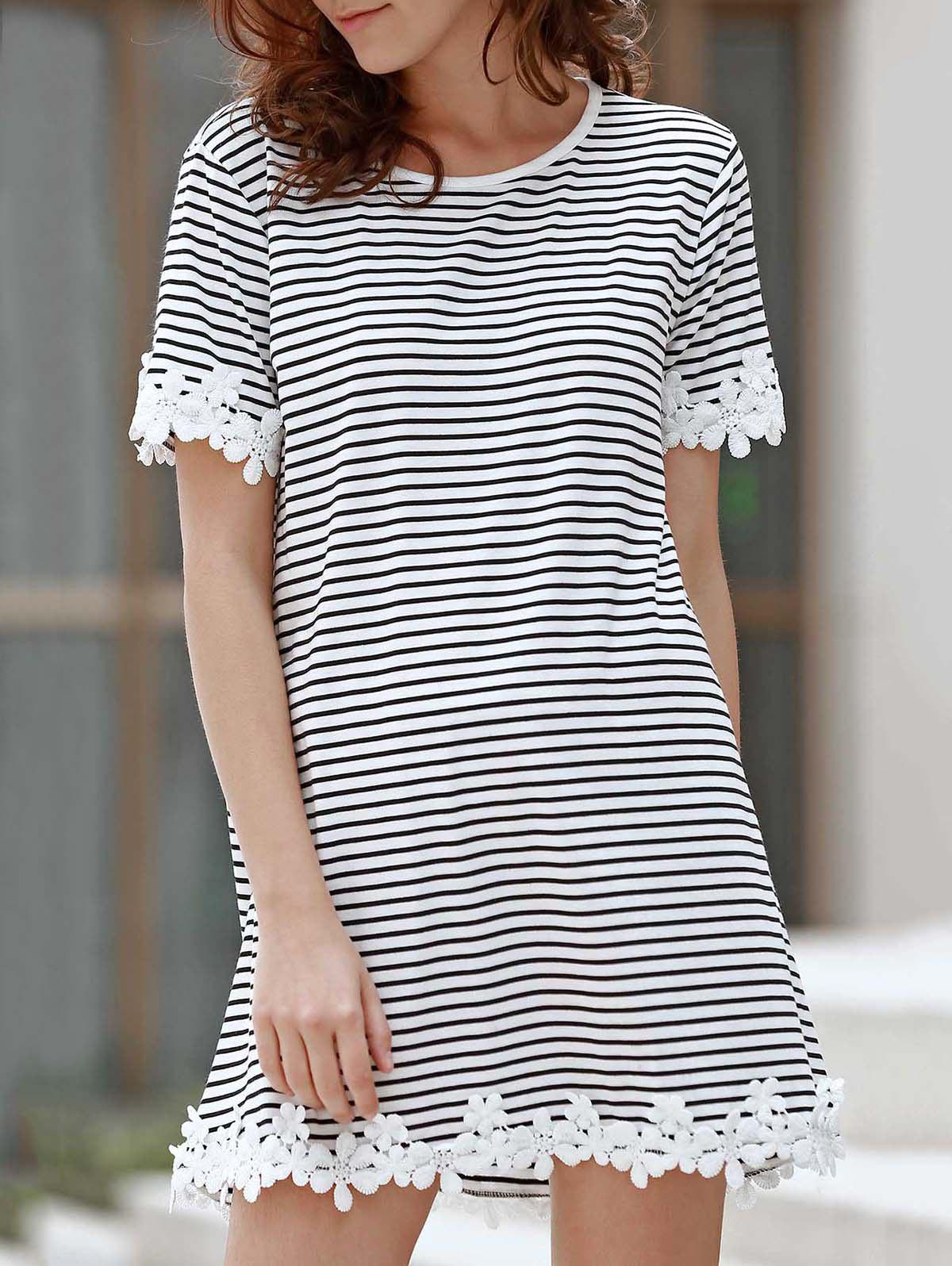 Fashion Sweet Style Round Neck Short Sleeve Striped Laciness A-Line T-Shirt For Women