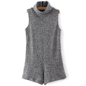 Fashion Turtleneck Sleeveless Gray Women's Romper - Gray - M