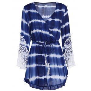 Lace Insert Tie Dye Faux Wrap Dress
