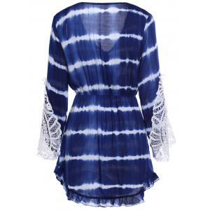 Lace Insert Tie Dye Faux Wrap Dress - BLUE S