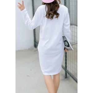 Casual Round Neck Long Sleeve Pure Color Loose Fitting Women's Dress -