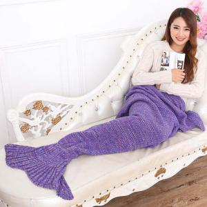 Mode Nap Poisson été Queue Forme Mermaid design Knitting Blanket - Pourpre