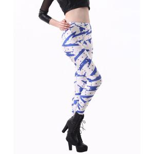 Fashionable High Waisted Slimming Yoga Pants For Women - BLUE AND WHITE ONE SIZE(FIT SIZE XS TO M)