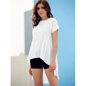 Stylish Round Neck Short Sleeve Asymmetrical T-Shirt For Women -
