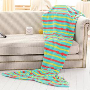 Fashion Summer Nap Bowknot Striped Pattern Fish Tail Shape Mermaid Design Blanket -