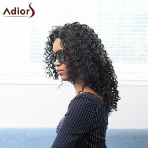 Bouffant Medium Afro Curly Capless Stunning Black Synthetic Adiors Wig For Women - Black