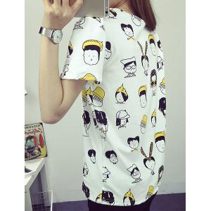 Preppy Style Round Collar Short Sleeve Full Cartoon Figures Print T-Shirt For Women -