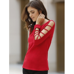Casual Cut Out Long Sleeve Solid Color Pullover T-Shirt For Women -