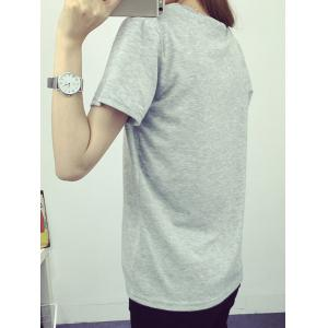 Preppy Style Round Collar Short Sleeve King Print T-Shirt For Women -