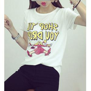 Preppy Style Round Collar Short Sleeve Letter and Cartoon Print T-Shirt For Women -