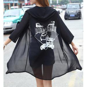 Vogue Hooded 3/4 Sleeves See-Through Printed Women's Blouse -