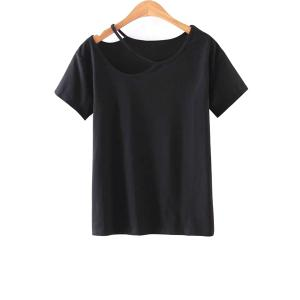 Casual Short Sleeve Cut-Out T-Shirt
