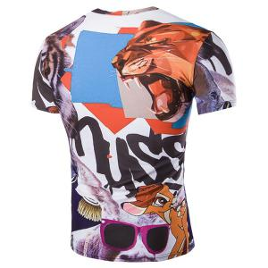 Slim Fit Pullover Cartoon Animals Printed T-Shirt For Men -