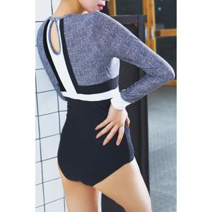 Stylish Long Sleeve Color Block Women's One-Piece Swimwear -
