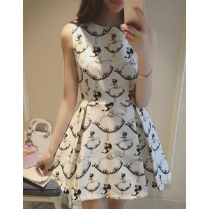Elegant Round Neck Sleeveless Print Pleaed Dress For Women -