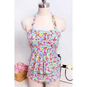 Sweet Halter Tiny Floral Print Women's Tankini Set -
