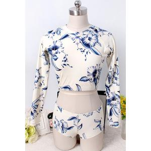 Stylish Long Sleeve Floral Print Women's Two Piece Swimsuit -