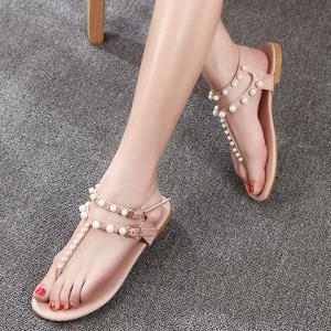 Casual Flip Flop and Faux Pearls Design Sandals For Women -