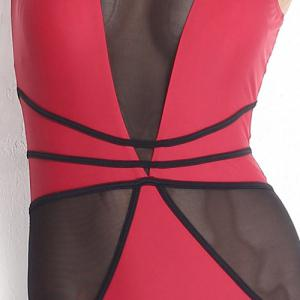 Stylish U Neck Voile Spliced See-Through One Piece Swimwear For Women -
