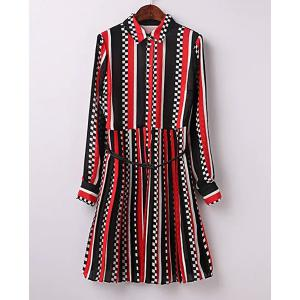 Casual Shirt Collar Long Sleeve Striped Pleated Dress For Women -