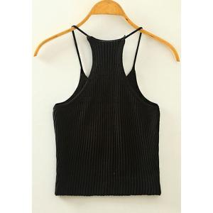 Sweet Spaghetti Strap Candy Color Knitted Tank Top For Women - BLACK ONE SIZE(FIT SIZE XS TO M)
