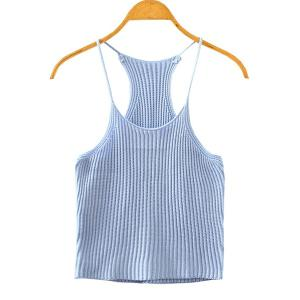 Sweet Spaghetti Strap Candy Color Knitted Tank Top For Women