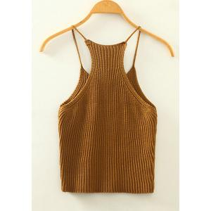 Sweet Spaghetti Strap Candy Color Knitted Tank Top For Women - KHAKI ONE SIZE(FIT SIZE XS TO M)