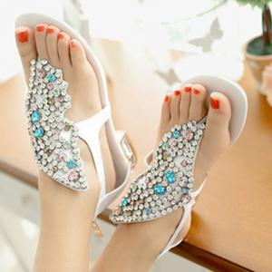 Gorgeous Rhinestones and Butterfly Design Sandals For Women -