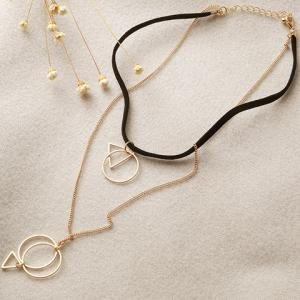 Multilayered Geometric Hollow Out Necklace - GOLDEN