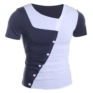 Fashion Skew Collar Slimming Button Design Color Splicing Short Sleeve Polyester T-Shirt For Men - WHITE M