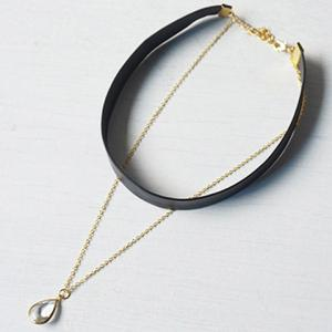 Double Layer Water Drop Necklace - BLACK