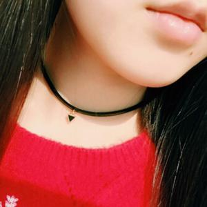 Faux Leather Triangle Choker Necklace - BLACK