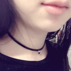 Faux Leather Triangle Choker Necklace -