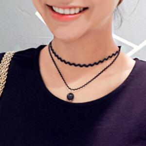 Bead Multilayered Choker Necklace - Black