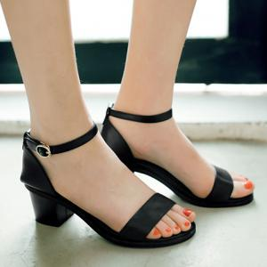 PU Leather Block Heel Ankle Strap Sandals -