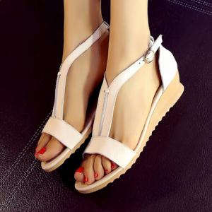 Casual T-Strap and PU Leather Design Sandals For Women -