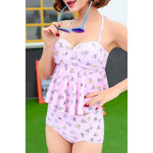 Sweet Halter Cat Print High Waist Women's Tankini Set -
