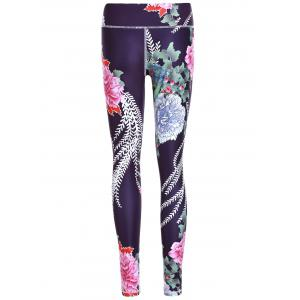 Sporty Floral Print Slimming Pants For Women -