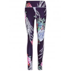 Sporty Floral Print Slimming Pants For Women - Black - S