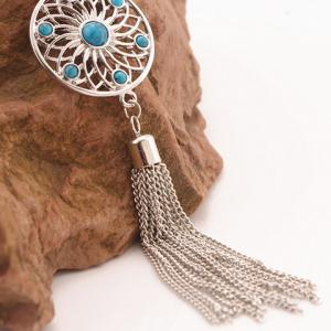 Retro Faux Gem Flower Chain Tassel Pendant Necklace - SILVER