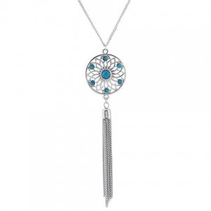 Retro Faux Gem Flower Chain Tassel Pendant Necklace -