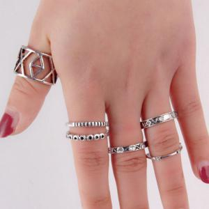 Stylish 6 Pcs/Set Rhinestone Emboss Letters Hollow Out Alloy Rings For Women -