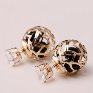 Pair of Hollow Out Double Ended Faux Zircon Stud Earrings - BLACK